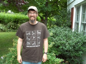 SCHF President Josh Lambert modeling our lovely t-shirts.